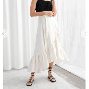 & OTHER STORIES Ruffled Linen Midi Wrap Skirt